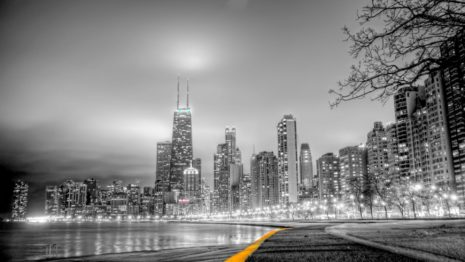 Chicago skyline at night HD wallpaper