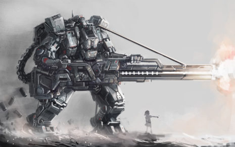 Huge robot firing HD wallpaper