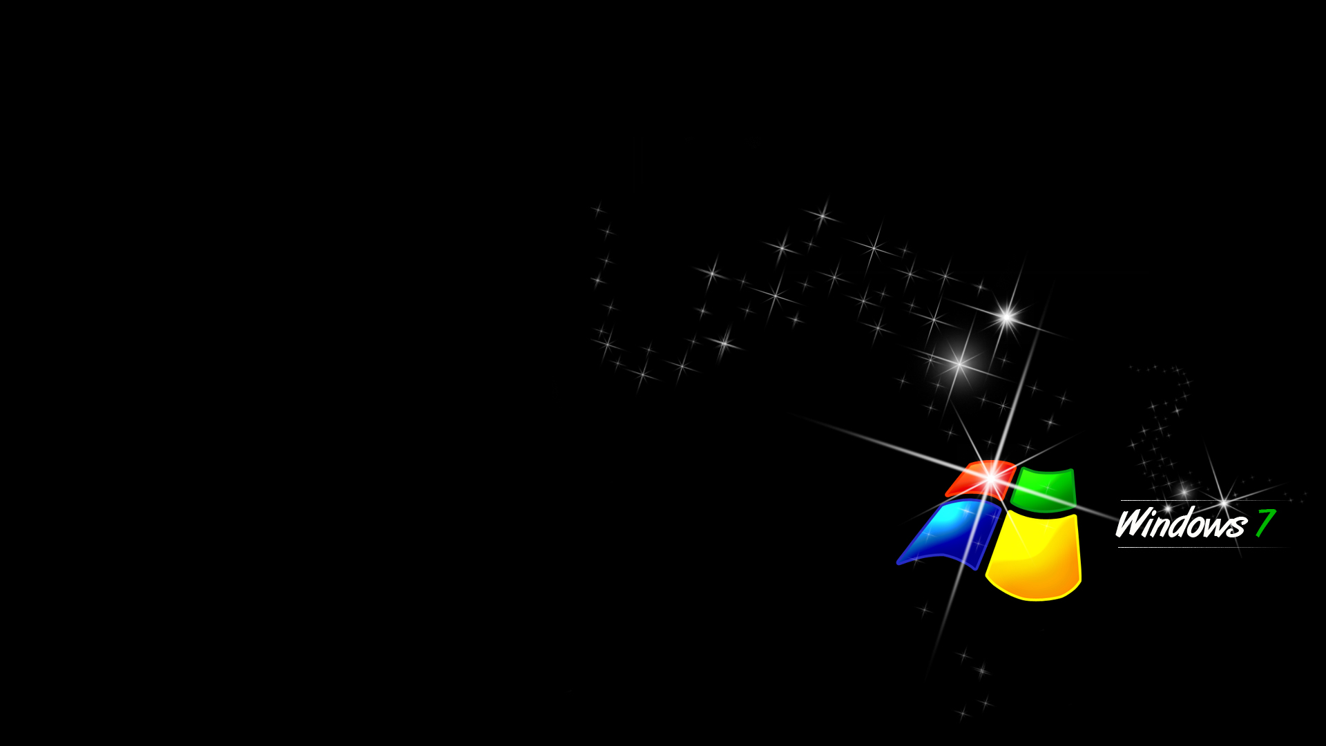 Windows 7 With Black Background HD Wallpaper