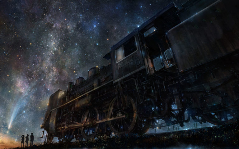 Art night train HD wallpaper