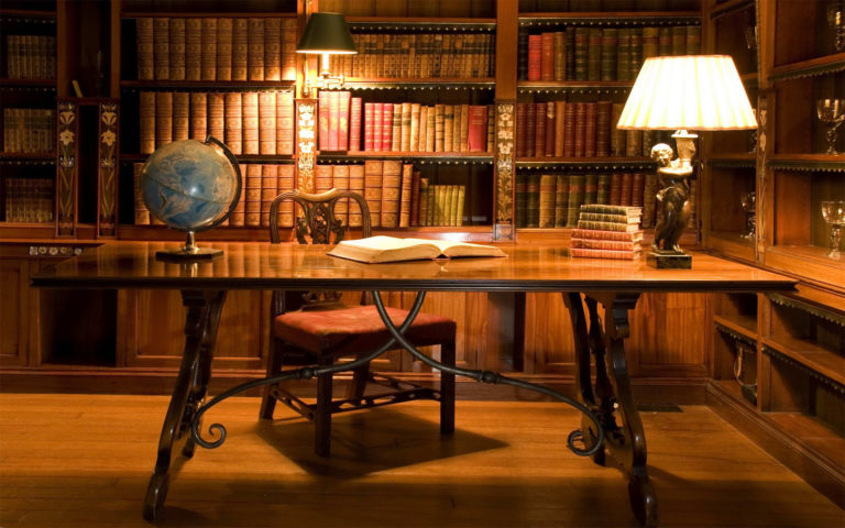 Beautiful Library Interior HD wallpaper