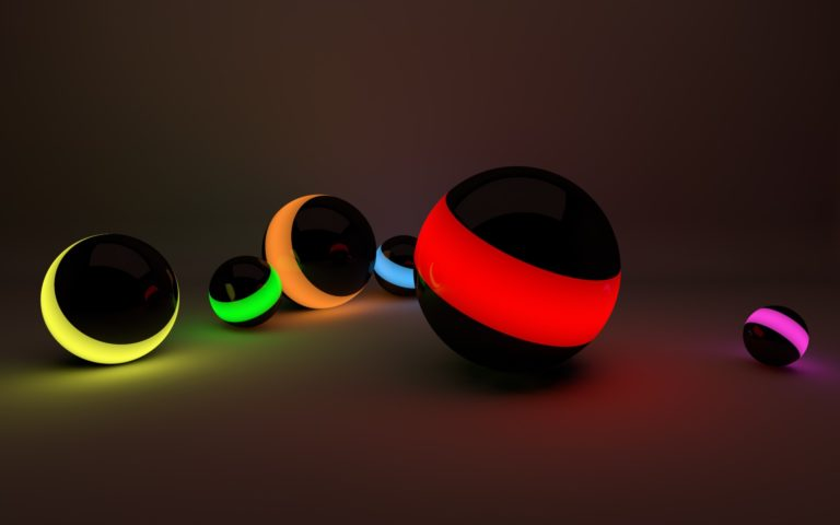 Black balls with neon light HD wallpaper
