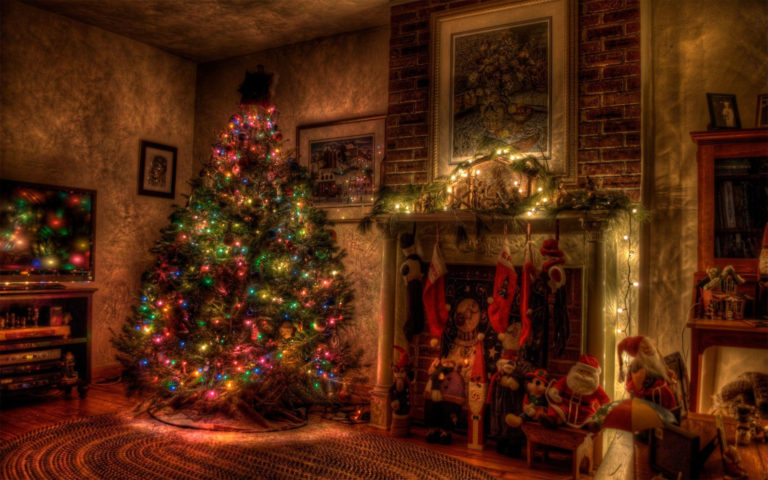 Christmas Garland Fireplace HD wallpaper