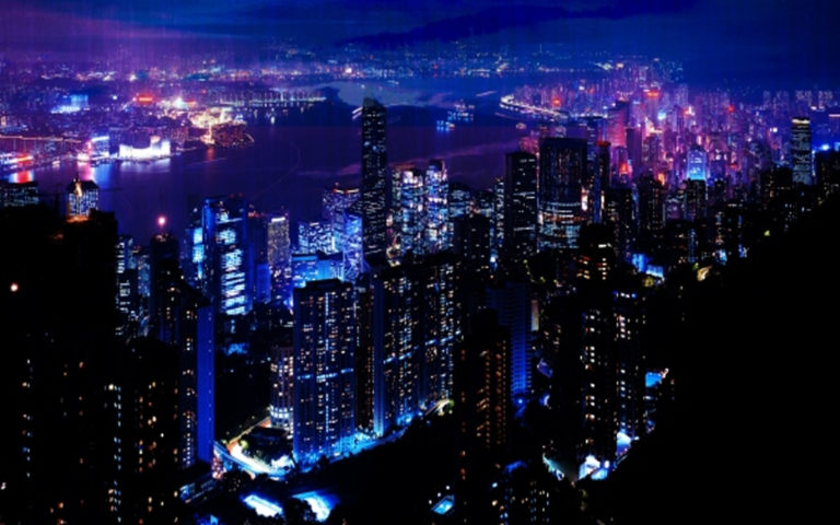 City shining in the dark night HD wallpaper