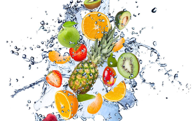 Fresh fruit splashing HD wallpaper