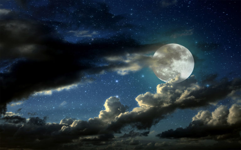 Full moon & black clouds HD wallpaper