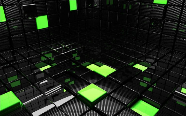 Green & Black Cubes HD wallpaper
