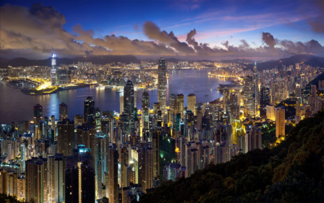 Hong Kong night clouds HD wallpaper