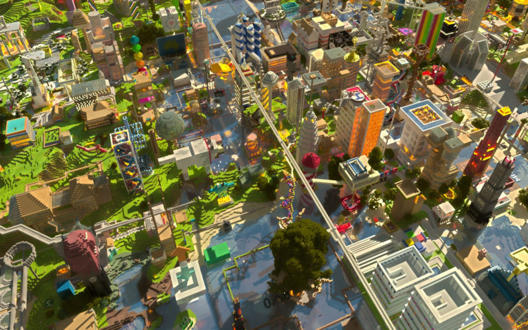 Mine craft city houses HD wallpaper