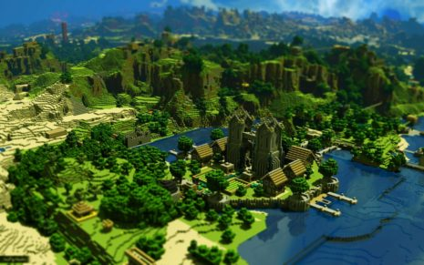 Minecraft architecture on mountains HD wallpaper
