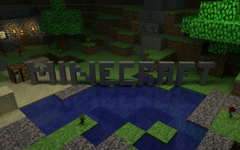 Minecraft house logo HD wallpaper