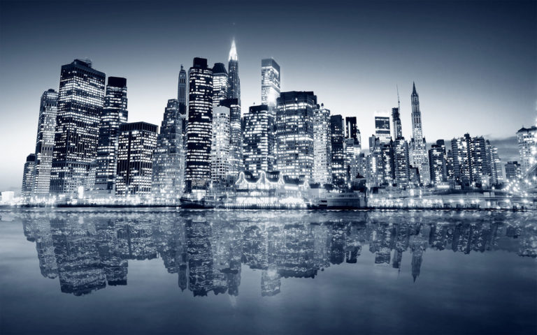 New York Manhattan Overnight HD wallpaper