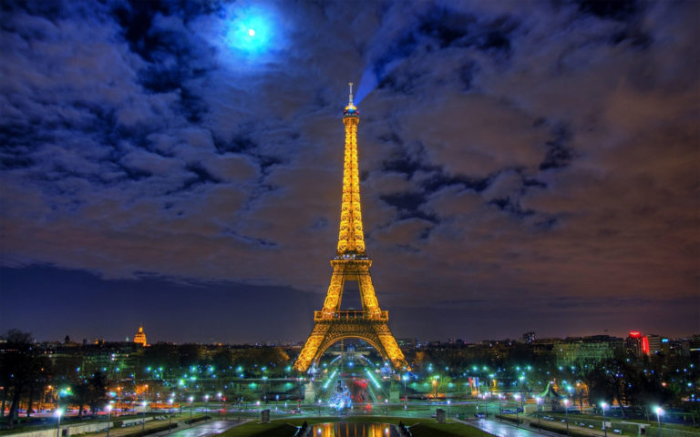 Night of France Eiffel Tower HD wallpaper