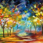 Painted autumn trees HD wallpaper