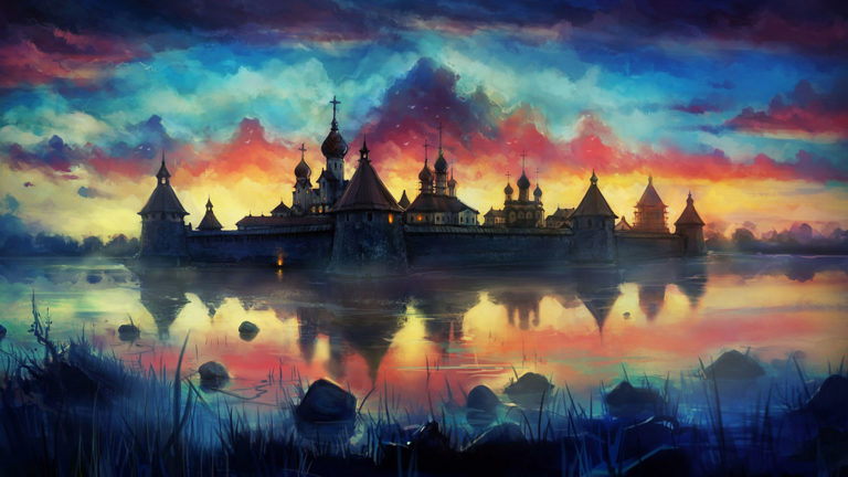 Painting of Monastery architecture HD wallpaper