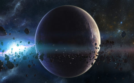 Planet surrounded by asteroids HD wallpaper