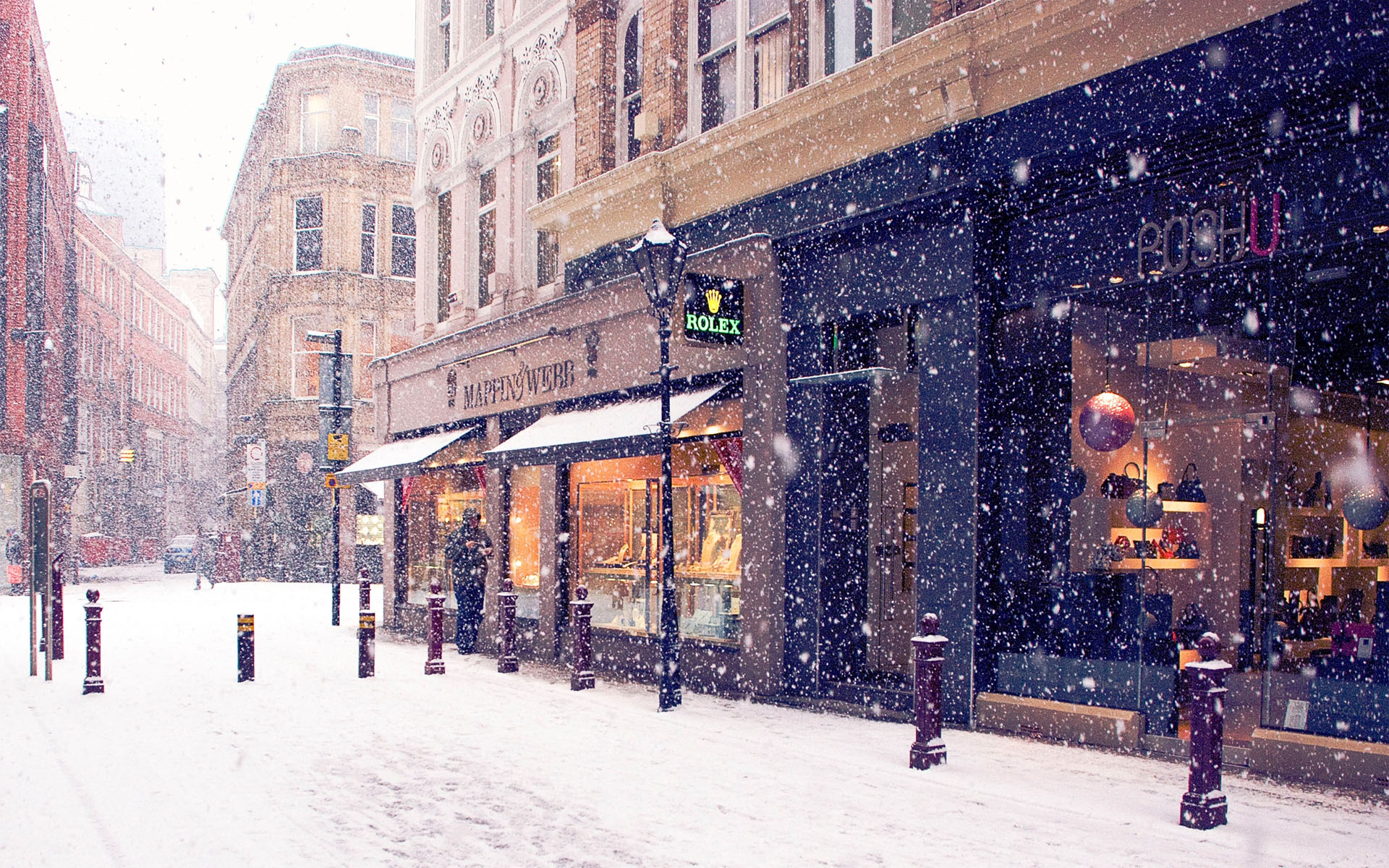 snow shopping on europe street hd wallpaper hd latest