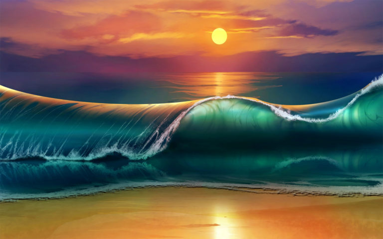 Sunset beach art HD wallpaper