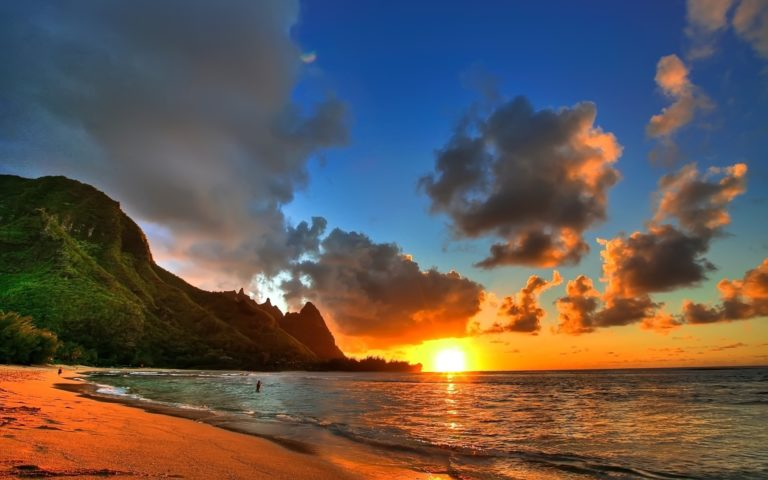 Sunset over the coast HD wallpaper