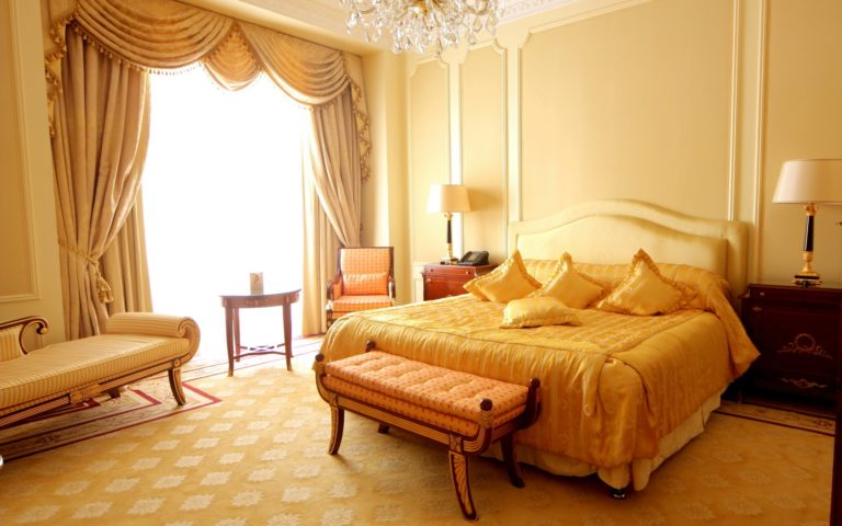 Yellow curtains apartment HD wallpaper