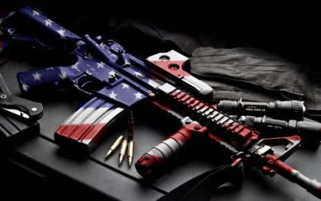 American flag printed on Rifle HD wallpaper