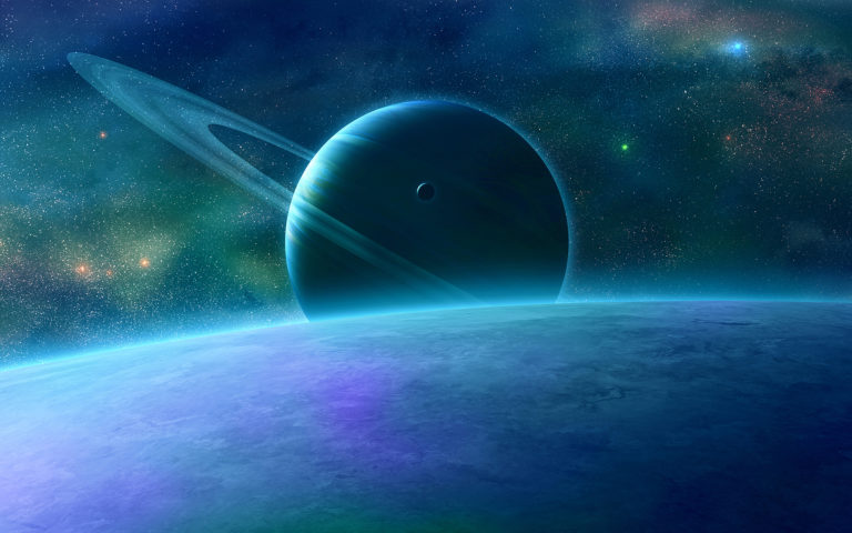 Blue shining space HD wallpaper