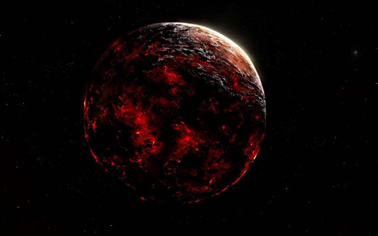 Red scorching planet HD wallpaper