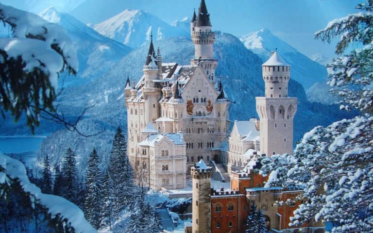 Snow castle architecture HD wallpaper