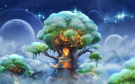 Fictional tree house HD wallpaper