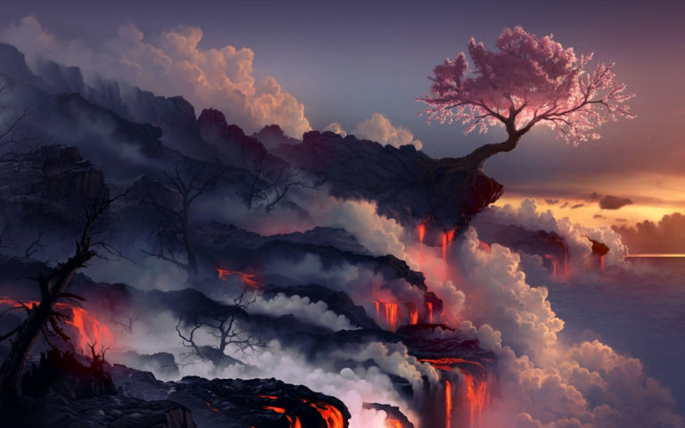 Lava eruption HD wallpaper