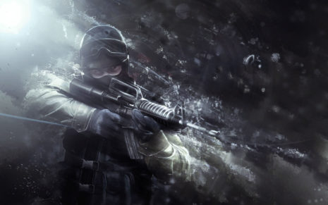 Soldier aiming with rifle HD wallpaper
