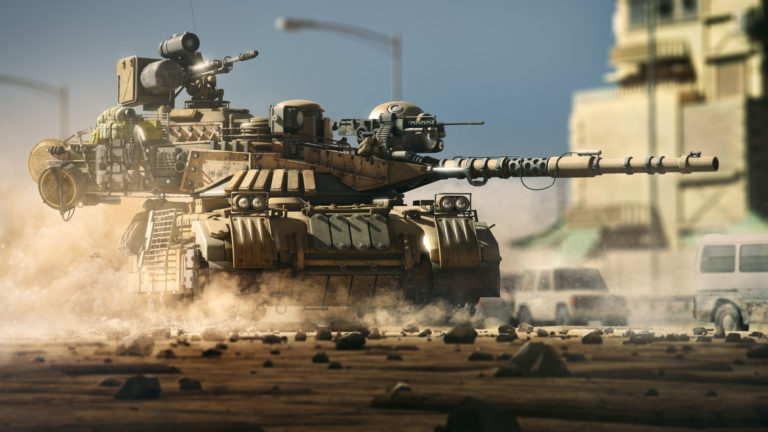 Tank with heavy machine guns HD wallpaper