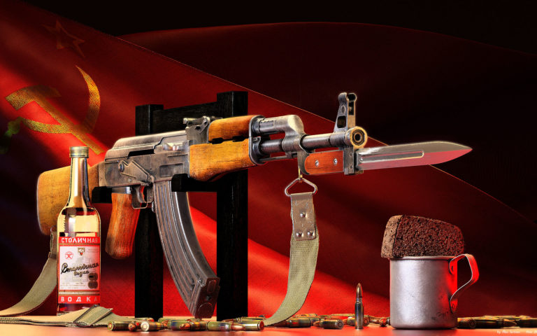 AK 47 with attached knife HD wallpaper