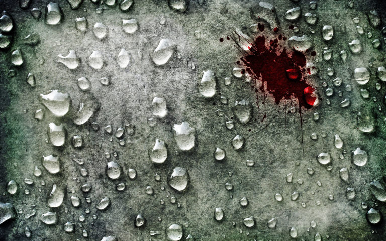 Blood drop on surface HD wallpaper