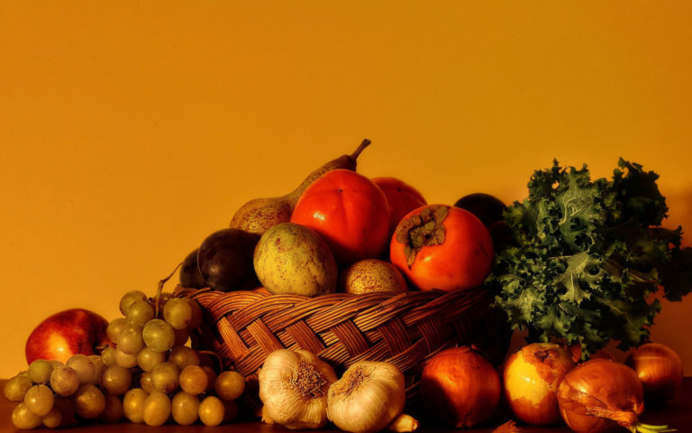 Fruits with orange background HD wallpaper