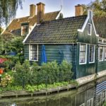 House close to river HD wallpaper