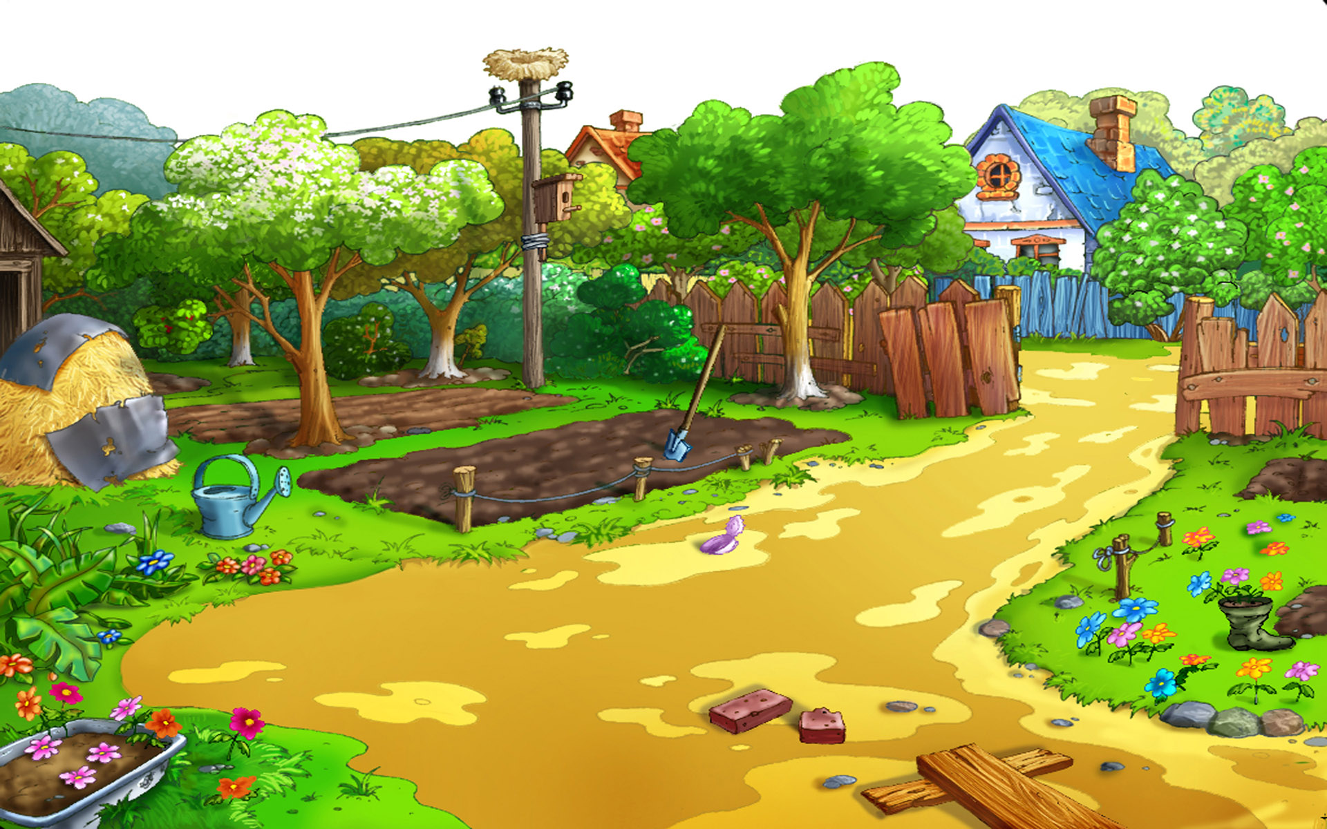 Cartoon garden HD wallpaper | HD Latest Wallpapers